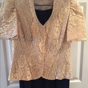 Vintage gold lace jacket with black crepe skirt